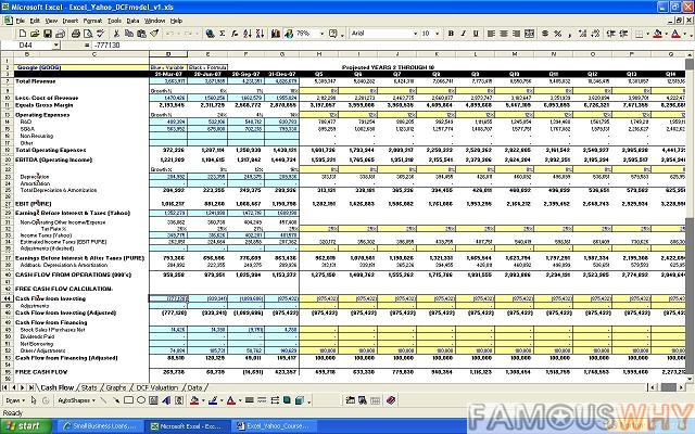 Excel with Yahoo! Finance - Building a Cash Flow Valuation Model
