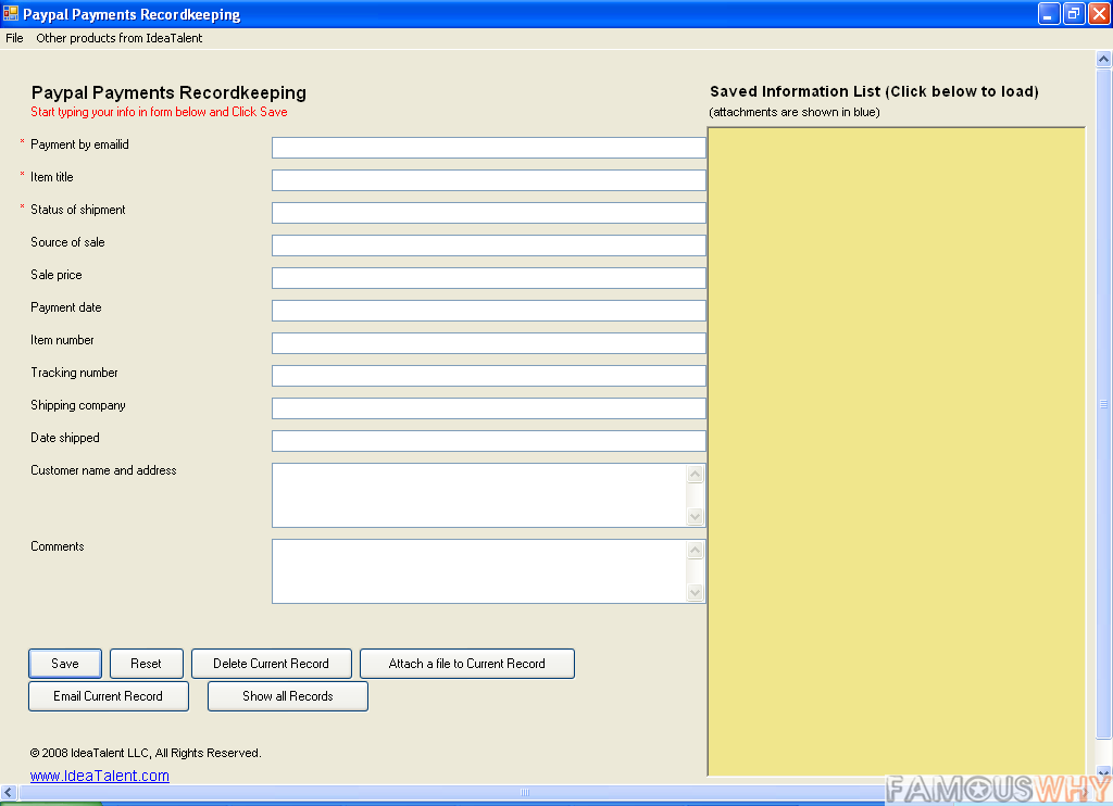 Paypal Payments Recordkeeping Software